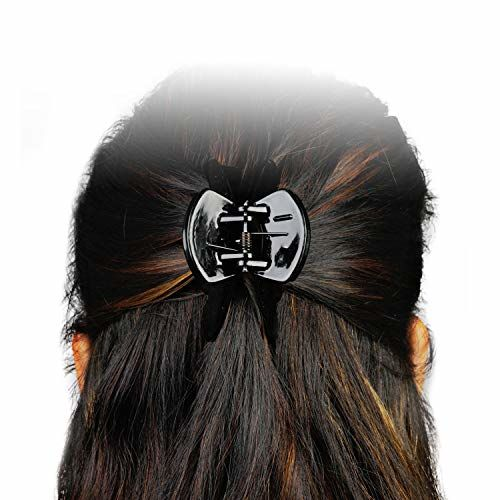 BHARATGAURAV Unbreakable Plastic Hair Clips Clutch, Claws, (Combo of 6 Pieces Black) for Girls and Women.