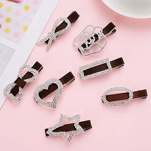 DALUCI Rhinestone Diamond Hand-Edge Clip Crystal Duckbill Hair Pin (Pack Of 1)
