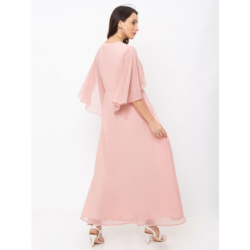 ITI Ice Pink Georgette Solid Bell Sleeve Maxi Dress