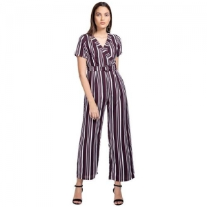 Faballey Maroon Georgette Striped Short Sleeve Jumpsuit