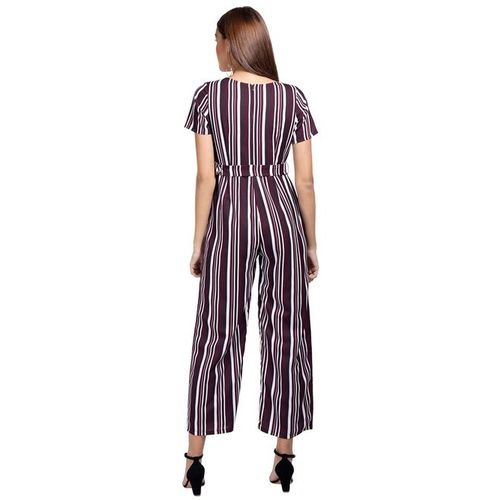 Faballey Maroon Georgette Striped Short Sleeve Jumpsuit