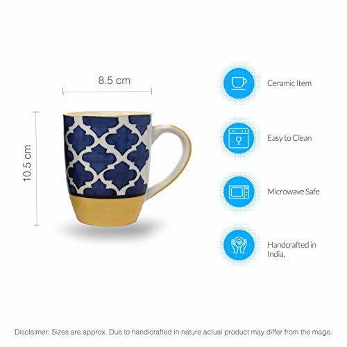 The Earth Store Moroccan Yellow-Blue Carpet Handcrafted Microwave Safe Ceramic Milk/Coffee/Tea Mug/Beverage Mug with Handle Ideal Best Gift to Friends,