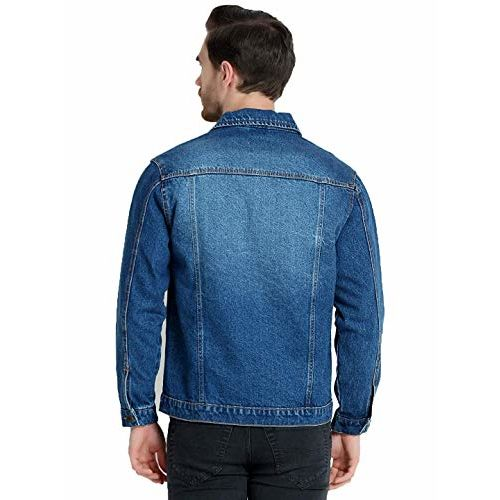 Ephemeral Full Sleeve Self Design Men Denim Jacket