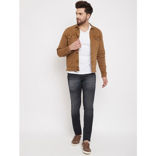 Canary London Brown Denim Solid Long Sleeve Jacket