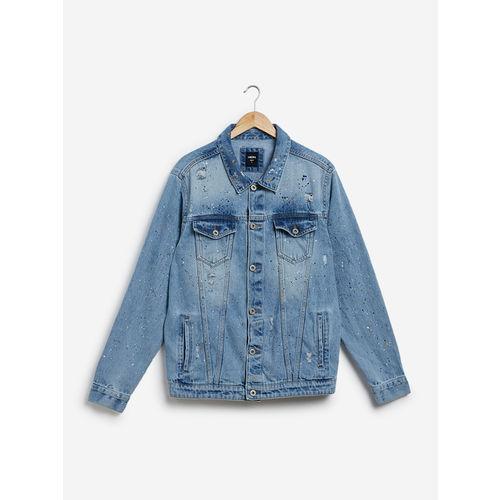 Nuon Men Nuon by Westside Blue Distressed Slim Fit Denim Jacket