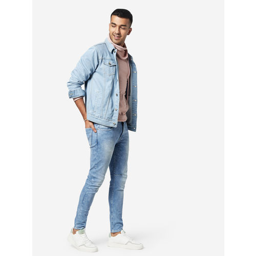 Nuon Men Nuon by Westside Sky Blue Viscose Solid Denim Jacket
