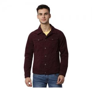 Peter England Jeans Maroon Cotton Regular Fit Jacket