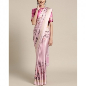 Saree Mall Pink Satin Crepe Digital Print Saree