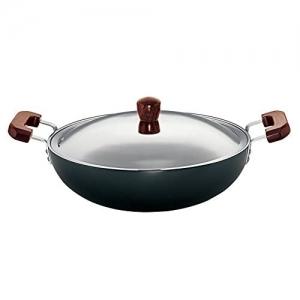 Hawkins Futura Hard Anodised Flat Bottom Deep-Fry Black Aluminium Pan with Steel Lid 7.5 L/36cm