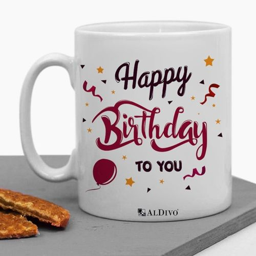 alDivo Premium Quality Happy Birthday To You Gift Printed Ceramic Coffee Mug(350 ml)