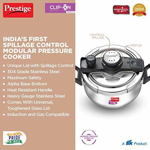Prestige Svachh Clip-on Mini Stainless Steel 3 Litre Pressure Handi