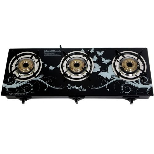 Sigri-wala Glass, Aluminium, Steel Automatic Gas Stove(3 Burners)