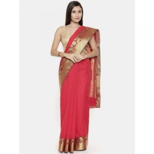 The Chennai Silks Red Silk Woven Saree With Unstitched Blouse