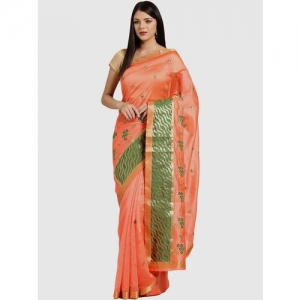 Chhabra 555 Peach Cotton Embroidered Saree With Blouse
