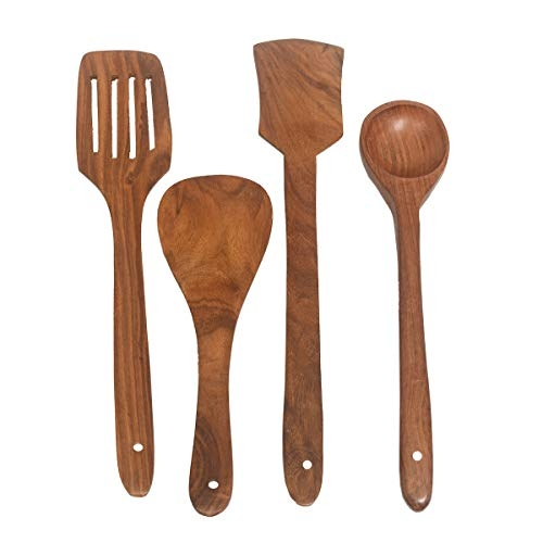 All About Wood Sheesham Hand Crafted Wooden Multipurpose Serving and Cooking Spoon and Ladles and Madani Kitchen Tool Set of 4