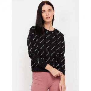 ONLY Black Cotton Printed Full Sleeves Sweatshirt