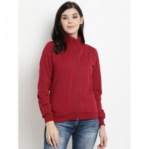 The Vanca Red Fleece Solid Long Sleeve Sweatshirt