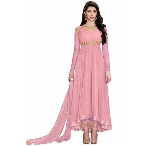 Feni Creations Women Georgette Long Anarkali Salwar Suit/Gown With Dupatta-15 (Pink)