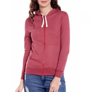 Campus Sutra Red Cotton Solid Long Sleeve Hoodies Jacket