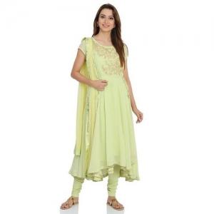Mint Green Anarkali Poly Cotton Suit Set