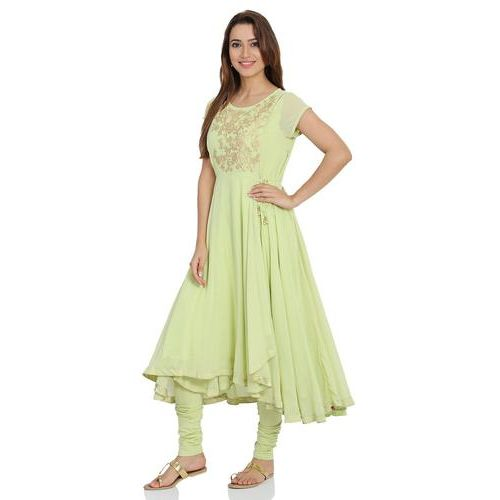 Mint Green Anarkali Poly Cotton Suit Set
