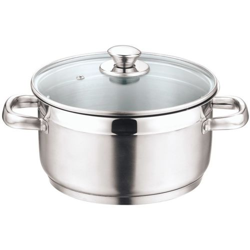 Vinod Cookware Stainless Steel Induction Friendly Two Tone Sauce Pot with Lid, 26 cm, 7.2 Ltr Pot 7.2 L with Lid(Stainless Steel, Induction Bottom)