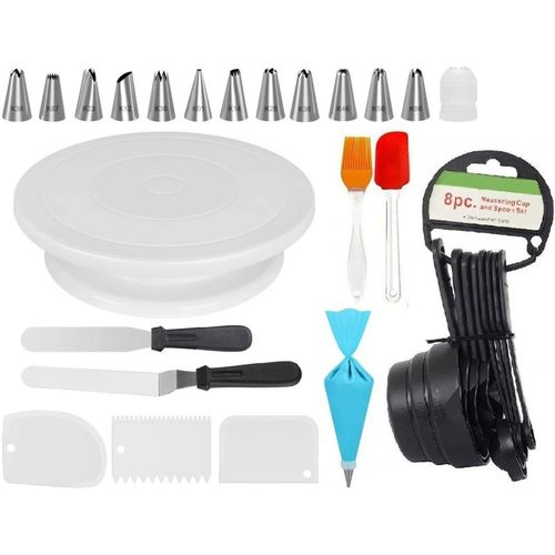 Xacton cakecombo12 Cake Decorating Kits Cake Turntable, 12 Numbered Cake Decorating Tips, 2 Icing Spatula, 3 Icing Smoother, 1 Silicone Piping Bag, Measuring