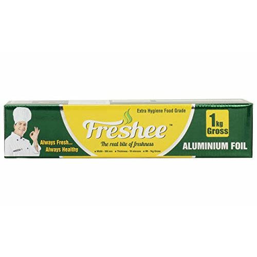 Freshee 1kg Gross Aluminium Silver Kitchen Foil Roll Paper, 18 Micron Thick, Food wrap, Bacteria Resistant, Disposable, Food Parcel, Hookah, Fresh Food