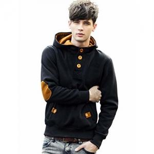 EYEBOGLER Cotton Men's Hoodie Sweatshirt Jacket (XXL-SW4N-BLMT) Black-Mustard