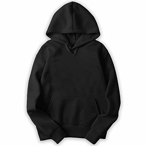 GOXEE Plain Hoodie/Sweatshirt for Men & Women/Unisex Hoodies Black