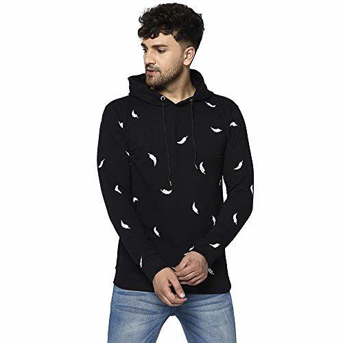 Tfortees Men's Black Cotton Full Sleeve Hooded Printed Sweatshirt (Black_M)