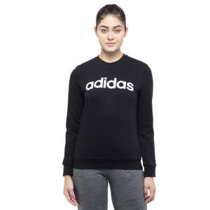 Adidas Black Polyester Printed Full Sleeve Sweatshirt