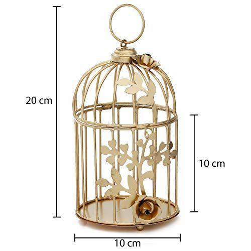 Webelkart Gold Color Metal Bird cage Tea Light Holder with Flower Vine for Home Decor