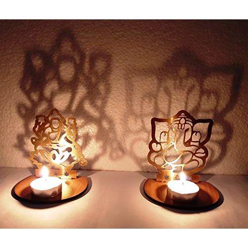 JD PRODUCTS Golden Metal Decorative Shadow Divine Lord Ganesha Ganpatiji and Laxmi Ji Tealight Candle Holder