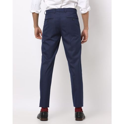 NETWORK Navy Blue Polyester Checked Slim Fit Formal Trousers