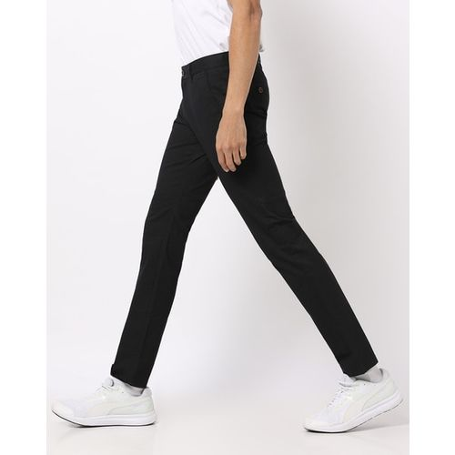 NETPLAY Textured Slim Fit Trousers with Insert Pockets