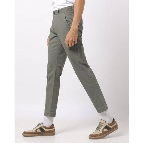 NETPLAY Slim Fit Flat-Front Cropped Trousers