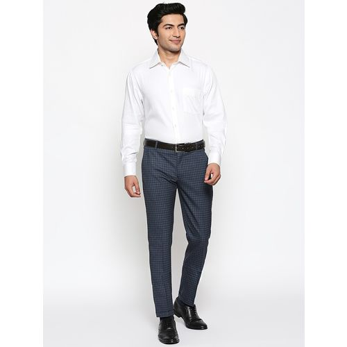 Solemio navy blue checkered flat front formal trouser