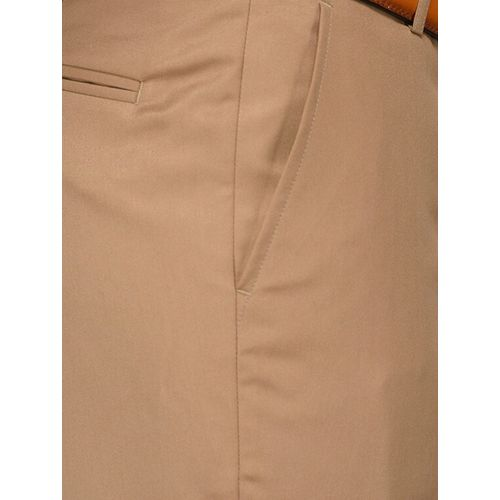 Greenfibre brown cotton blend flat front formal trouser