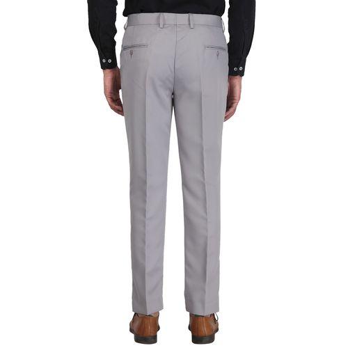 HUNTSMAN grey solid flat front formal trouser