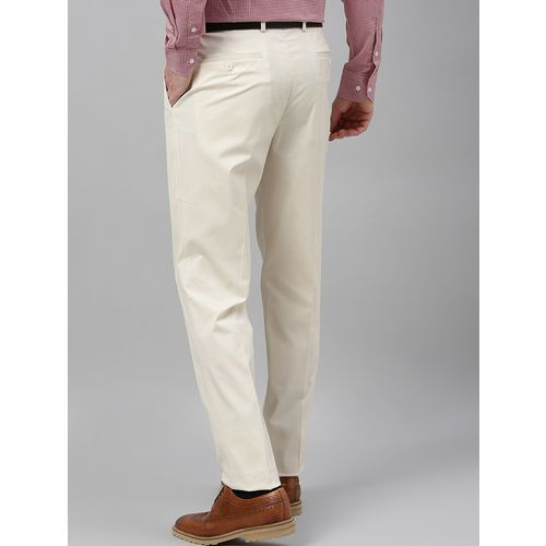 Theme cream solid flat front formal trouser