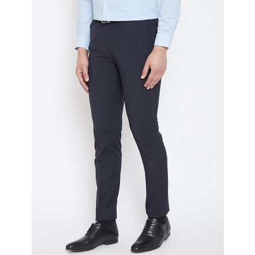 Canary London navy blue solid flat front formal trouser