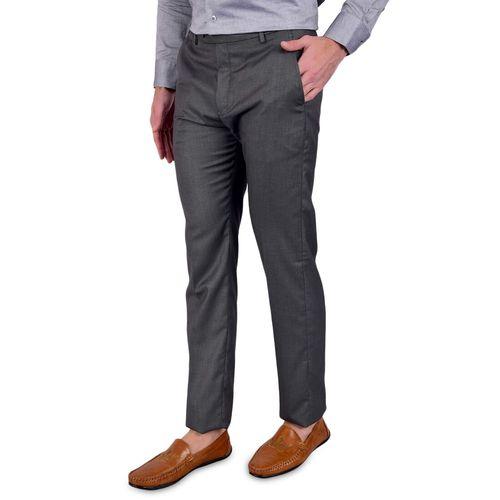 Bleu Velvet grey solid flat front formal trouser