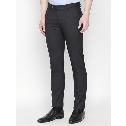 Solemio blue solid flat front formal trouser