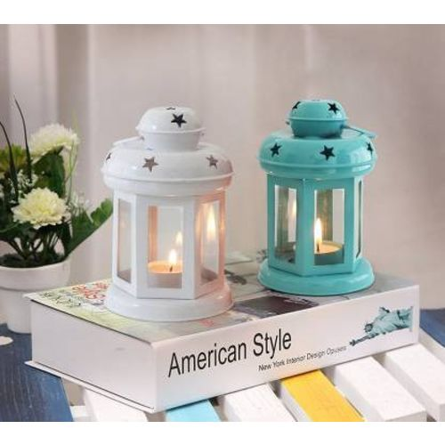 Tied Ribbons Tea Light Candle Holder Lantern for Diwali, Christmas Decoration Iron 2 - Cup Tealight Holder Set(Multicolor, Pack of 2)