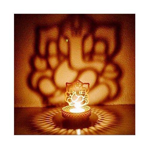 Heaven Decor Shadow Ganesh Tealight Candle Holder For Diwali