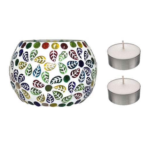 Peepal Comm PeepalComm Hand made Glass T-light Candle Holder set of 2 with 4 Tlight Candle free for Birthday Diwali Hotel spa(7x7cm)