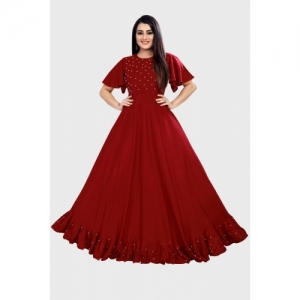 Jatvedas Collection Maroon Rayon Solid Stitched Flared/A-line Gown