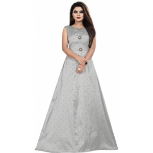 Prasha Fashion Grey Silk Jacquard Solid Sleeveless Anarkali Gown