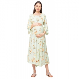 MomToBe Green Rayon Floral Bell Sleeve Maternity Wear Dress